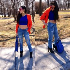 Black & Orange   #outfit #croppedshirt #kennethcole #sexy #easter #christiandior #coach #zara #oglivy #boyfriendjeans #style #trend