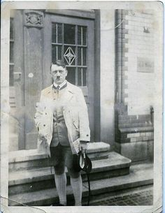A few of you have been asking for this rare 1925/26 photo to be re-posted without the sepia tone. Photo taken by Lotte Bechstein. Hitler carries a map and his whip, along with a very funky cap. No photos of him wearing this have ever surfaced. Hitler's at the top of his game here. :)