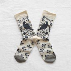Slate Wood Pigeon Socks by Bonne Maison | Luna & Curious