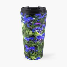 'abstract blue flowers' Travel Mug by Blue Flowers, Travel Mug, Bottles, My Arts, Art Prints, Mugs, Abstract, Printed, Awesome