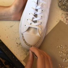 sparkle to your converse using silver Swarovski crystals!Add sparkle to your converse using silver Swarovski crystals! Converse Trainers, Sneakers Mode, Sneakers Fashion, Fashion Shoes, Sneakers Workout, Shoes Sneakers, Women's Sneakers, Black Sneakers, Bedazzled Shoes