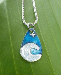 Blue and silver wave pendant by silversunstudiobiz on Etsy, $18.00