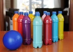 Plastic Bottle Bowling - http://www.pbs.org/parents/crafts-for-kids/plastic-bottle-bowling/
