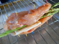 Slice chicken breast in half, season, stuff with asparagus and cheese, secure with toothpicks, place on rack on top of baking sheet, bake at 375 degrees for 40 minutes or until juices run clear.  I seasoned the chicken with salt, pepper, garlic powder, paprika, and Mrs. Dash Table Blend.