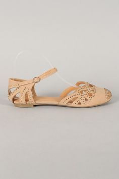 Ariel-13 Jeweled Round Toe Cut Out Flat Sandal