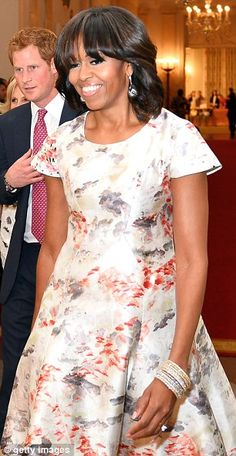 Michelle Obama wearing Prabal Gurung to host Prince Harry at The White House May 2013