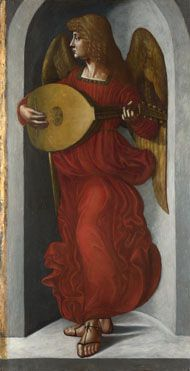 An Angel in Red with a Lute  (c1495-9), Giovanni Ambrogio de Predis: Part of the group of panels from S.Francesco Altarpiece, Milan.