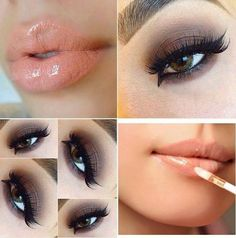 Glossy lips and hazel eyes beautiful combination - #brownshadow #nudegloss #nudelips - bellashoot.com