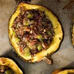 Acorn squash are stuffed with a mixture of cornbread, mushrooms, and wild rice flavored with sage to make an impressive vegetarian main course or side dish that's fit for a special occasion or holiday meal.