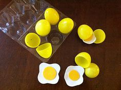 Make your own cracking eggs for Kitchen play, using plastic easter eggs and craft foam.