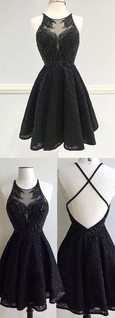 black lace homecoming dress, luxury beaded short prom