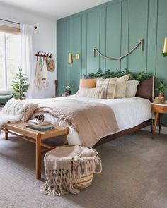 DIY Board and Batten is the best way to transform your bedroom wall! PLUS we pai… DIY Board and Batten is the best way to transform your bedroom wall! PLUS we painted the wall the perfect green blue!Check out which Sherwin Williams color! Bedroom Green, Room Ideas Bedroom, Home Decor Bedroom, Bed Room, Diy Bedroom, Bedroom Designs, Earthy Bedroom, Grey Wall Bedroom, Adult Bedroom Ideas