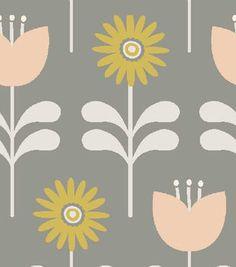 Elizabeth Olwen Quilt Fabric- Fairytale Gardens Side By Side Taupe