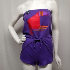 741ef3f2ec7 Vtg 70s 80s Purple Jersey Knit Shorts Romper Satin Toucan Applique Womens  S M