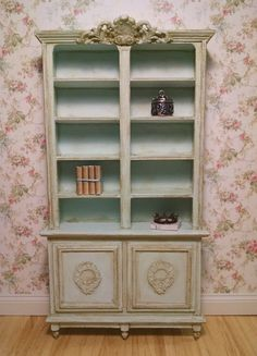 Aged Blue French Provincial Bookcase Miniature by FrenchVellum