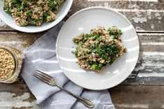 Cheezy Broccoli Quinoa Pilaf is a delicious vegan and gluten free recipe makeover to traditional cheesy broccoli, using quinoa and homemade dairy-free sauce