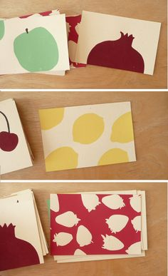 screen printed assorted fruit cards by Claire Nereim