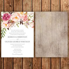 """This suite comes with a 5"""" x 7"""" invitation and a 5"""" x 3.5"""" RSVP. You have the option of choosing a digital file or ordering prints from me. If you"""