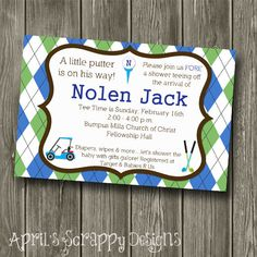 Hey, I found this really awesome Etsy listing at https://www.etsy.com/listing/176644529/golf-theme-baby-shower-invitation