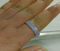 3 Row Ladies Women's Round D/VVS1 Diamond 2mm Wedding Anniversary Ring Band New #br925silverczjewelry #Band #WeddingEngagementAnniversaryBirthdayPartyGift