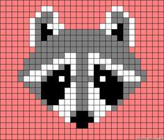 Raccoon perler bead pattern