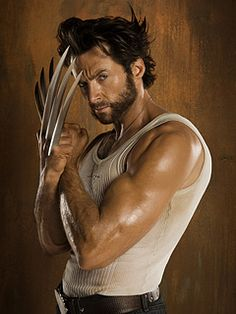 Hugh Jackman as Wolverine. His aging process has slowed down dramatically because of his mutation. He is suspected to have been born sometime between 1886 and 1887. I think he looks somewhere around 30 years old.