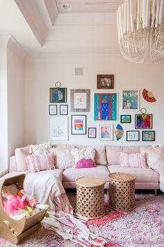 A Little Pop of Valentine's Day Fun in Our Kid's Playroom. - Addison's Wonderland- pink-dreamy-cozy-playroom-white-washed-red-pattern-wood-velvet-sectional-winter-white-world-market-fire-place-anthropology-girly Interior Design Inspiration, Home Decor Inspiration, Design Ideas, Interior Ideas, Blogger Home, Holiday Pops, Pink Sofa, World Market, Formal Living Rooms