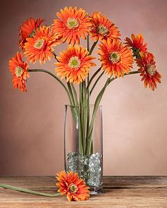 Gerbera daisy silk flower stem pinterest gerbera silk flowers gerbera daisy silk flower stem orange mightylinksfo