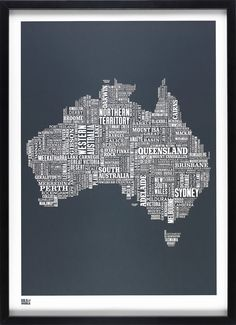 Australia Type Map in Sheer Slate - decorative screen print. $69.00, via Etsy.