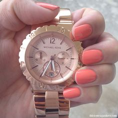 Michael Kors Rose Gold Bracelet Watch Morgan Taylor nail polish in Candy Coated Coral Coral Nail Polish, Gold Acrylic Nails, Coral Nails, Rose Gold Nails, Michael Kors Rose Gold, Michael Kors Watch, Morgan Taylor, Nail Candy, Bracelet Watch