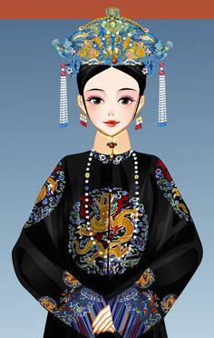 Gold Wedding Crowns, China Art, Chinese Clothing, Qing Dynasty, Princess Zelda, Disney Princess, Snow White, White Dress, Anime