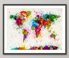 Paint Splashes Map of the World Map, Art Print 18x24 inch