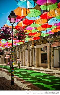 Umbrella Street in Agueda, Portugal-so cool! ~one of many reason why I want to see Portugal someday. Places Around The World, Oh The Places You'll Go, Places To Visit, Around The Worlds, What A Wonderful World, Beautiful World, Beautiful Places, Amazing Places, Beautiful Streets