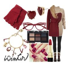 """""""Winter Red"""" by tanyamareeq ❤ liked on Polyvore featuring adidas Originals, Vivienne Westwood Anglomania, Lands' End, Betsey Johnson, LE VIAN, New Look, Dolce&Gabbana, NARS Cosmetics and wintersweater"""