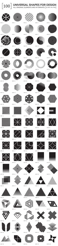 100 geometric shapes by Vanzyst on Creative Market - Graphic Work Graphisches Design, Design Elements, Logo Design, Shape Design, Pattern Design, Geometric Designs, Geometric Shapes, Geometric Patterns, Geometric Symbols