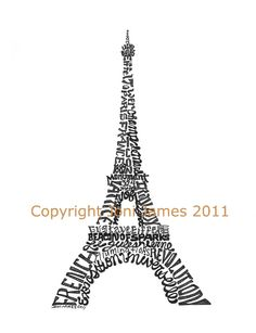 Pen & Ink Illustration Eiffel Tower Art Calligraphy Drawing, Paris Typography Eiffel Tower Word Art Calligram, 8x10 Matted Print. $19.50, via Etsy.
