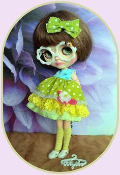 Adorable Blythe doll 6 pieces outfit*dress*eyeglasses*shoe*hair clip*socks*dress