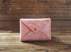 Leather Business Card Holder Coated with Wax #Red