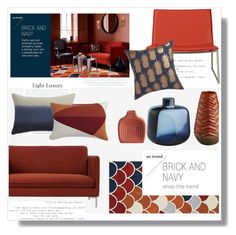 """""""On Trend - Brick and Navy"""" by lidia-solymosi ❤ liked on Polyvore featuring interior, interiors, interior design, home, home decor and interior decorating"""