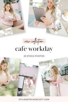 Cafe Workday Stock Photos | work from wherever entrepreneur stock photography by Styled Stock Society Digital Marketing Channels, Pink Cafe, Business Stock Photos, Office Images, Brand Assets, Photo Work, Co Working, Entrepreneur, Desktop