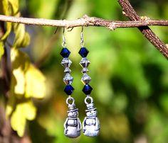Pewter Snowman, Swarovski earrings, Sterling Silver Earrings. Handmade Earrings. Blue, silver earrings. Holiday earrings. handmade xmas gift - pinned by pin4etsy.com