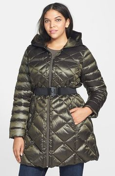 Bernardo Belted Hooded Packable Goose Down Walking Coat (Plus Size) available at #Nordstrom