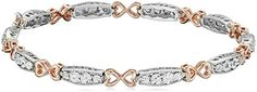 "Two-Tone Sterling Silver and 18K Rose Gold over Silver Diamond Accent Miracle Plate Bracelet, 7.5"" *** Want additional info? Click on the affiliate link Amazon.com on image."