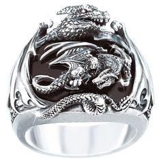 snake and dragon jewelry for men | ... Bradford Exchange Realm Of The Dragon Sterling Silver Ring: Men's