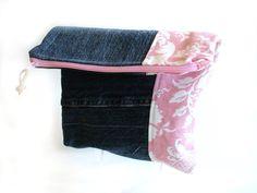 Denim clutch handbag color block pink foldover #denimclutch #jeansbag by NancyEllenStudios