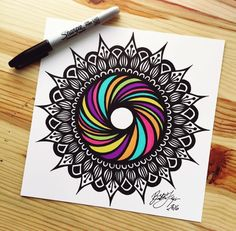 throwback to drawing famous rainbow bagel, if i can't taste it, i can draw it! Mandala Art Lesson, Mandala Doodle, Mandala Artwork, Mandalas Painting, Madhubani Painting, Sun Mandala, Designs Henna, Sharpie Designs, Doodle Art Designs