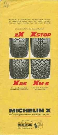 Carte Michelin - publicité pour le pneu zX, Xstop, Xas et Xm+s