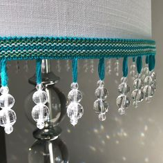 Troynorth Cotswolds Woodstock Beaded Trim in colour Dragonfly, a bright and vivid blend of turquoise and green.