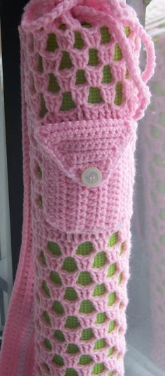 Crochet Yoga Mat Bag Pretty Pink by DylanaDesigns on Etsy.... Not a fan of the bag but I like the idea of pockets added