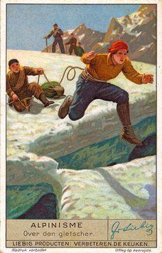 Vintage Alpine Climbing Poster - Crevasse Jump